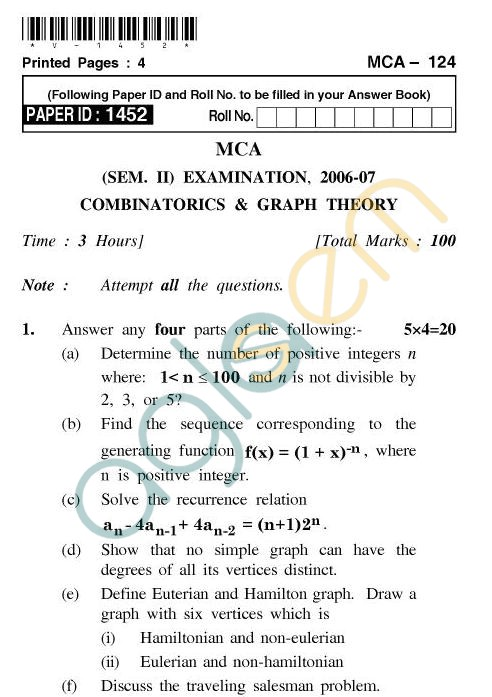 UPTU MCA Question Papers - MCA-124 - Combinatorics & Graph Theory