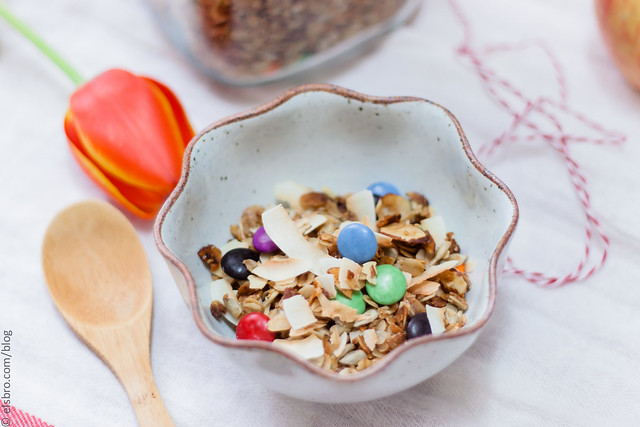 Smarties and Toasted Coconut Granola