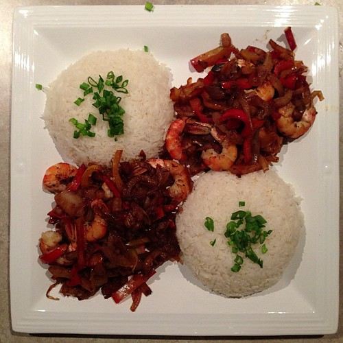 Sticky rice with shrimp, fennel, onions, and peppers.