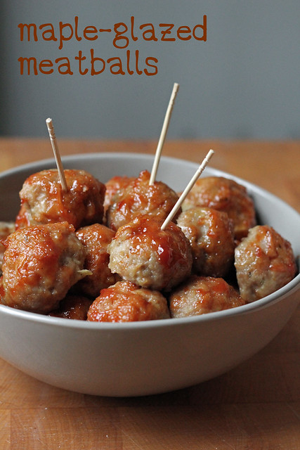 maple-galzed meatballs