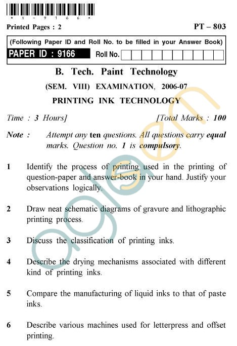 UPTU B.Tech Question Papers - PT-803 - Printing In Technology