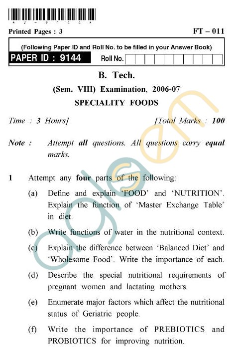 UPTU B.Tech Question Papers - FT-011 - Specialty Foods