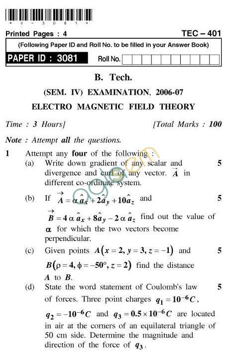 UPTU B.Tech Question Papers -TEC-401-Electromagnetic FieldTheory