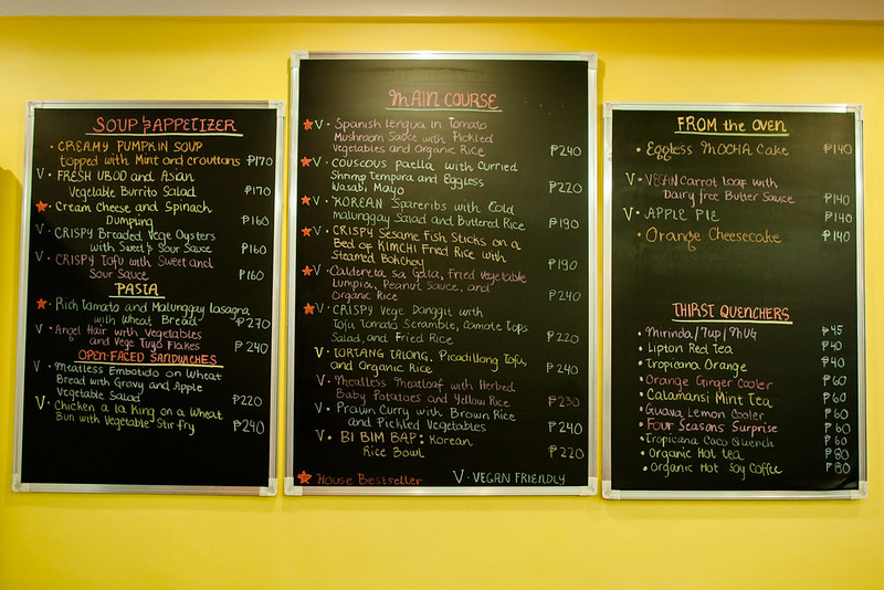 The Vegetarian Kitchen's chalkboard menu