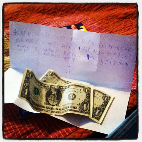 9 year old Travis' bday note says---  from travis to:  the best mom ever.  thank you mom for being so nice to me feeding me and i just want to say thank you happy birthday to the best mom their is in the intire world -> 2$  #travis #birthday #blessed #not