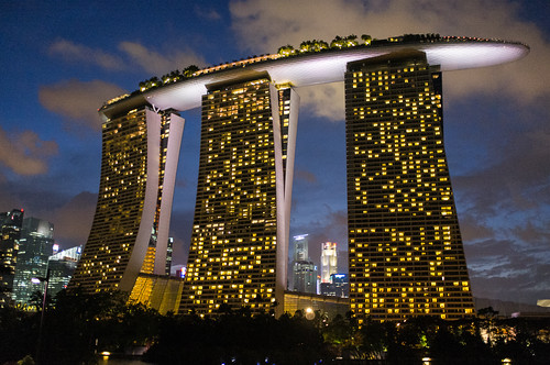 A walk at a different time yields a different view of Marina Bay Sands