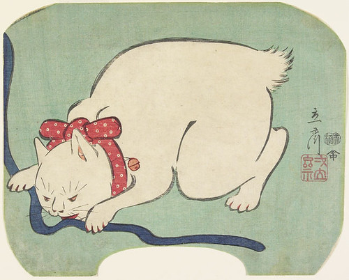 Utagawa Hiroshige II (1826–69), A White Cat Playing with a String, 1863. Courtesy Minneapolis Institute of Arts