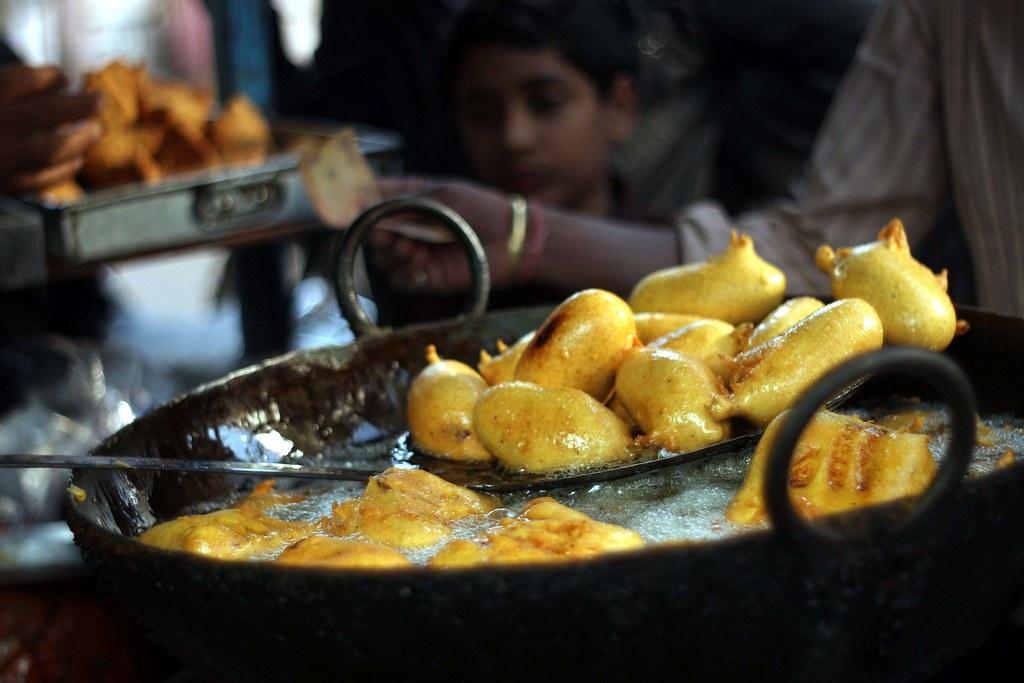 mirchbada filling of potato and chilly pepper in batter pipar market outside jodhpur
