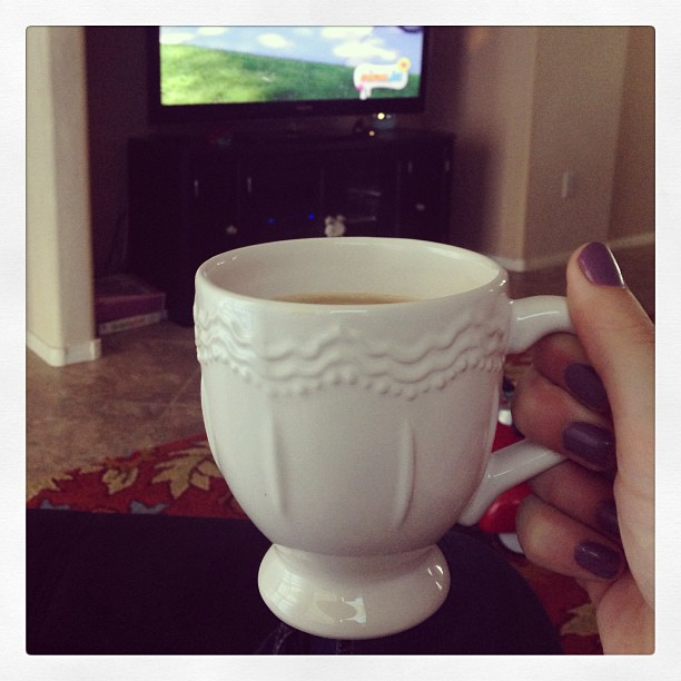 Hot coffee and Nick Jr with a little buddy this morning before embarking to the madness of #wppi. It's a good way to wake up in #vegas! #wppi2013 #morningcuppajoe