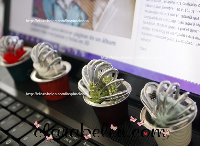 Cactus hechos con argollas de refrescos, lana y capsula nespresso