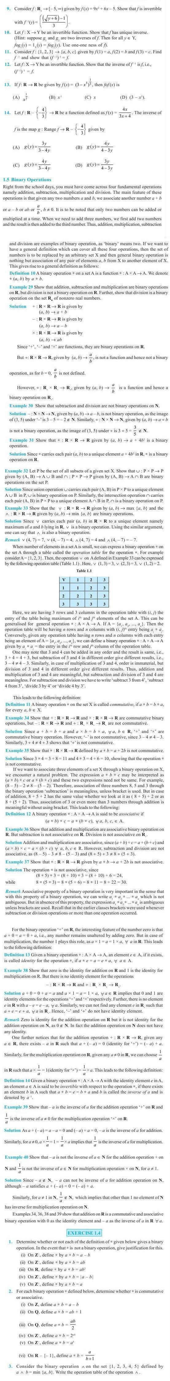 NCERT Class XII Maths Chapter 1 - Relations and Functions