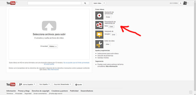 Crea videos a partir  de fotos utilizando Youtube 2