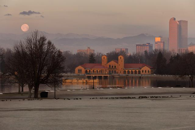 Denver Moonset at Sunrise