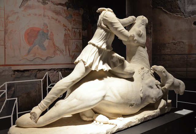 Roman sculptural group of Mithras slaying the bull recovered by the Carabinieri art theft squad in a van in Fiumicino in 2014, the sculpture dates from the 3rd century AD, from Tarquinia