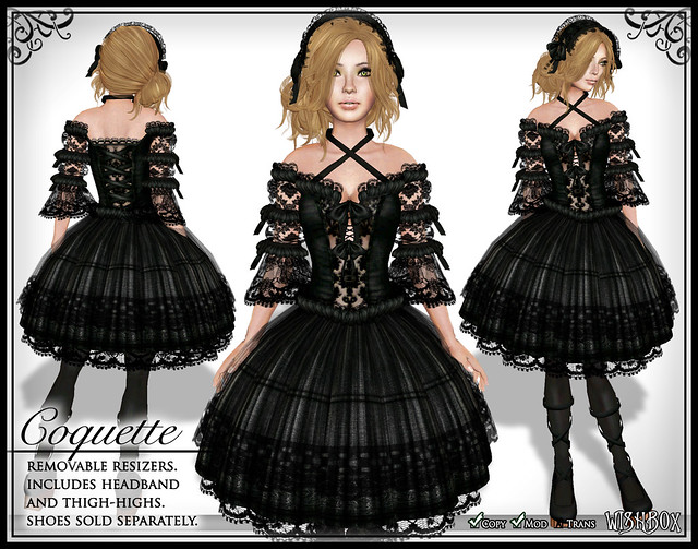 Coquette (Black) Gothic Lolita Dress in Second Life