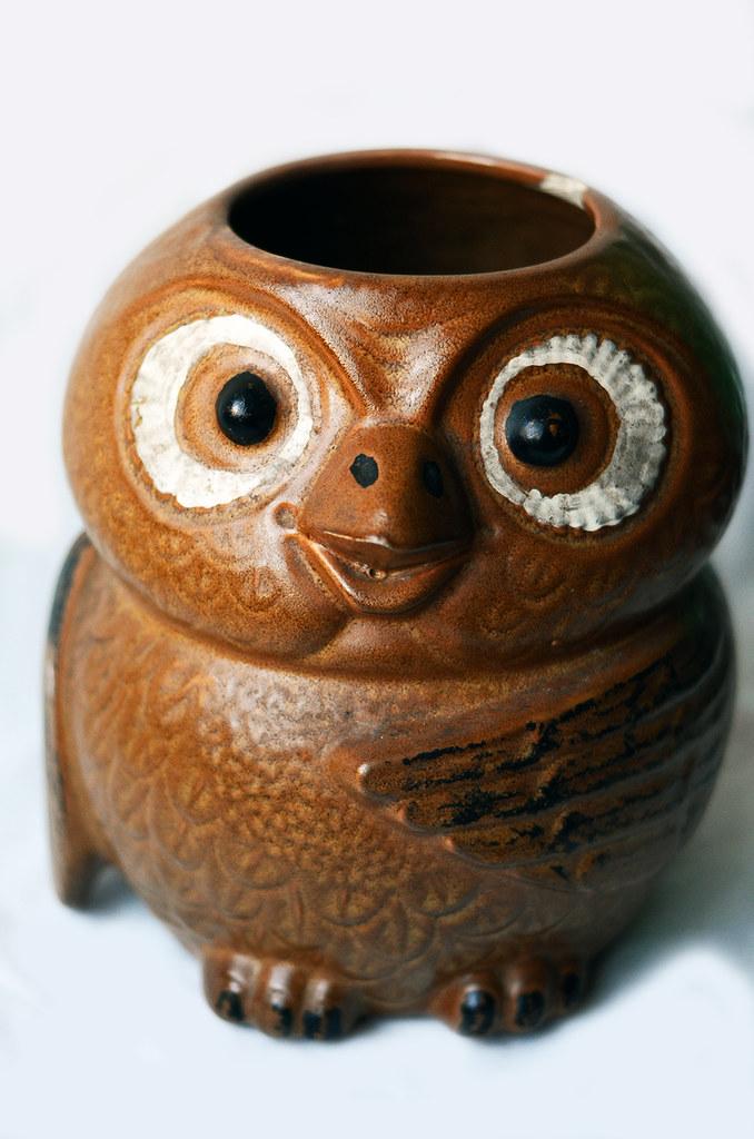 Vintage Ceramic Owl Container