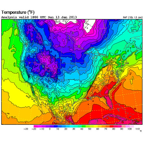 Surface temperature map of the United States, from the RUC analysis at 1800 UTC on 13 January 2013; Image courtesy of RAL Real-Time Weather Data