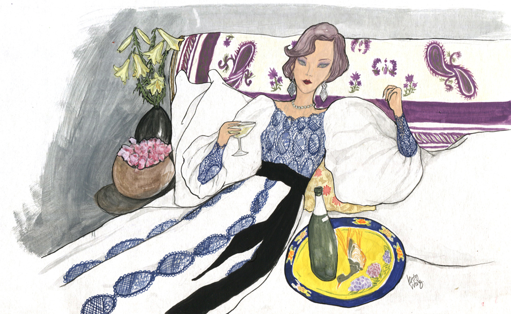 Gouche painting of Loulou de la Falaise lounging in her bed in Paris apartment