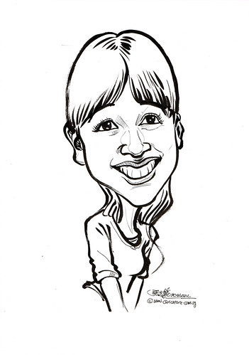 lady caricature in pen and brush 30062012