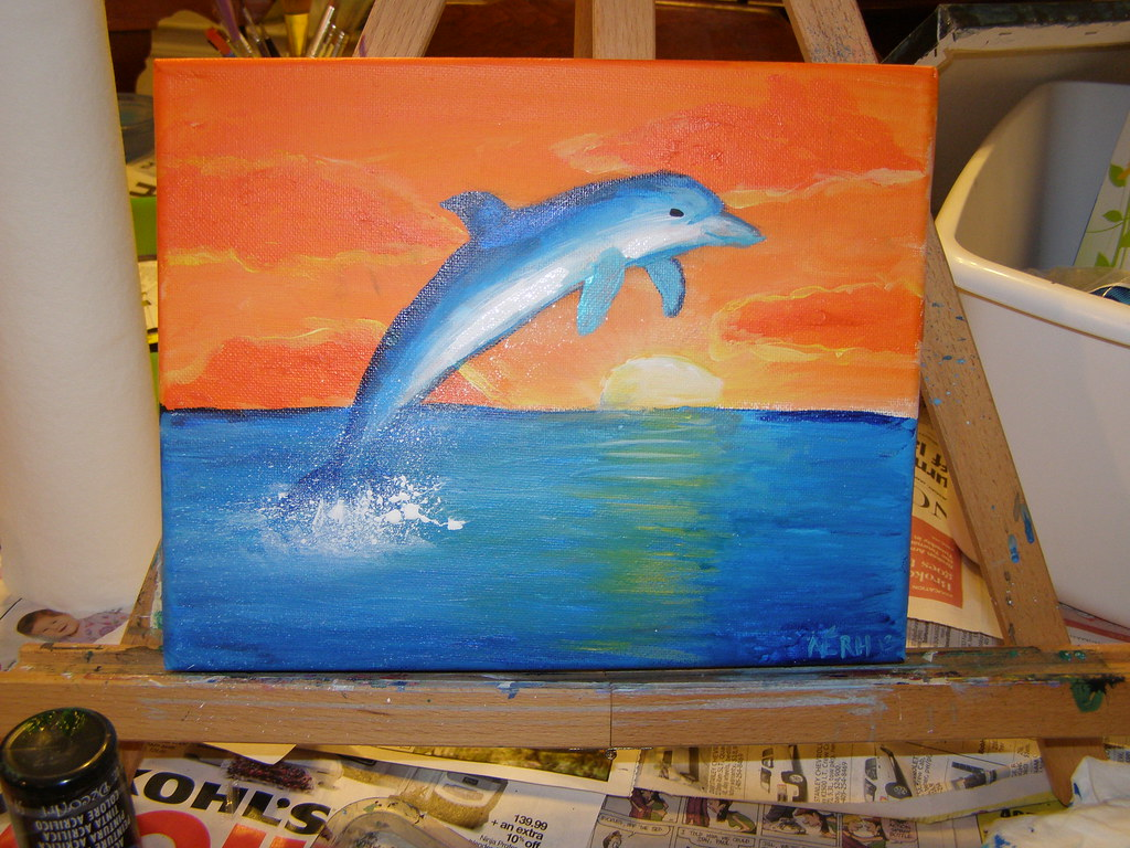 just folk art step by step dolphin painting. Black Bedroom Furniture Sets. Home Design Ideas