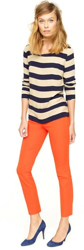 stripes coral jeans blue heels