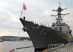 In this file photo, USS Lassen (DDG 82) sita along the pier at Fleet Activities Sasebo, Japan, during a visit in January. (U.S. Navy photo by Mass Communication Specialist 3rd Class Ramon G. Go)