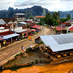 This is the view from my hotel $3/night - Vang Vieng, Laos - July 2009 #vangvieng #laos #seasia #asia #tubing #backpack #Travelstache