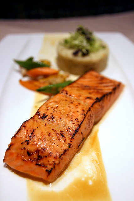 Full a la carte portion: King Salmon with Mandarin-Habanero Glaze, Meyer Lemon Cous Cous & Hot House Cilantro
