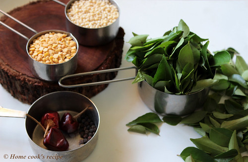 Ingredients for curry leaves powder