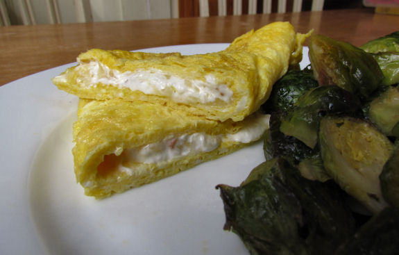 Cream Cheese Omelet Cut in Half