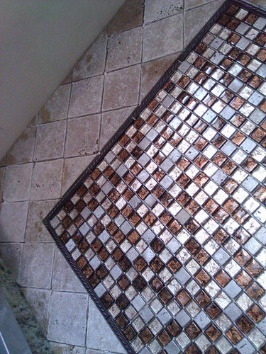 Travertine and glass tile design