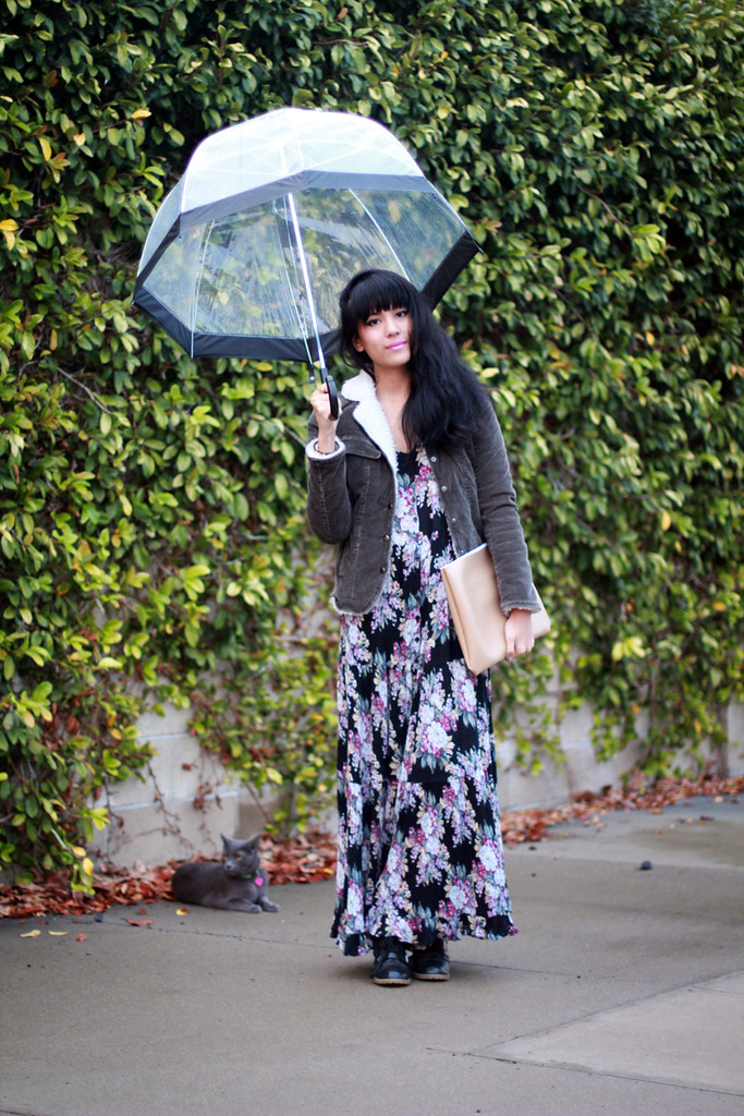 Tarte Vintage Floral Pleated Maxi Dress shoptarte.com, Theory Faux Fur Lined jacket, DIY leatherette clutch, Marc by Marc Jacobs Amy watch, Maya Brenner Initial Bracelet, Transparent clear bubble umbrella