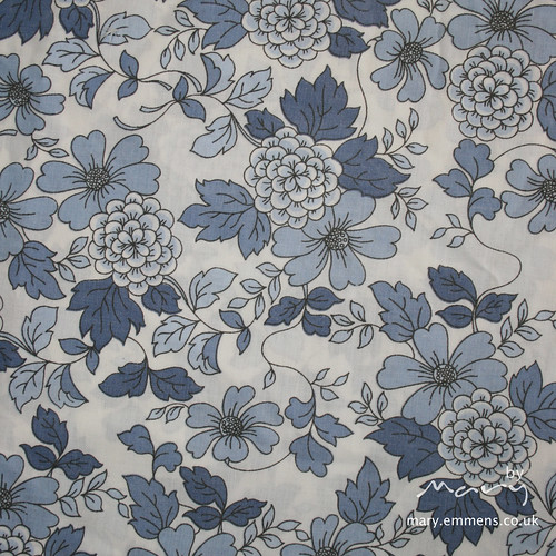 Vintage sheet - dark blue floral
