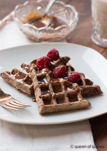 Chocolate Raspberry Waffles with a Chocolate-Peanut Butter Drizzle via Queen of Quinoa (@alyssarimmer)