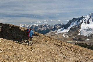 Backpacking on a high ridge in Yoho National Park of the 