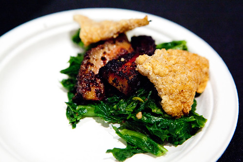 Maguey worm salt dusted pork crackling, mustard greens, smoked pork belly