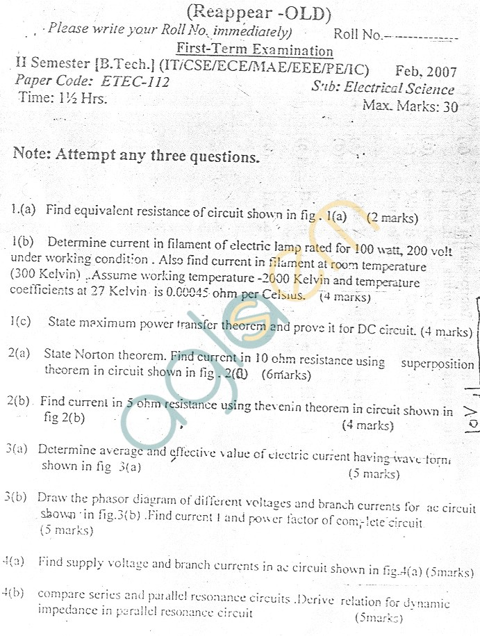 GGSIPU Question Papers Second Semester – First Term 2007 – ETEC-112