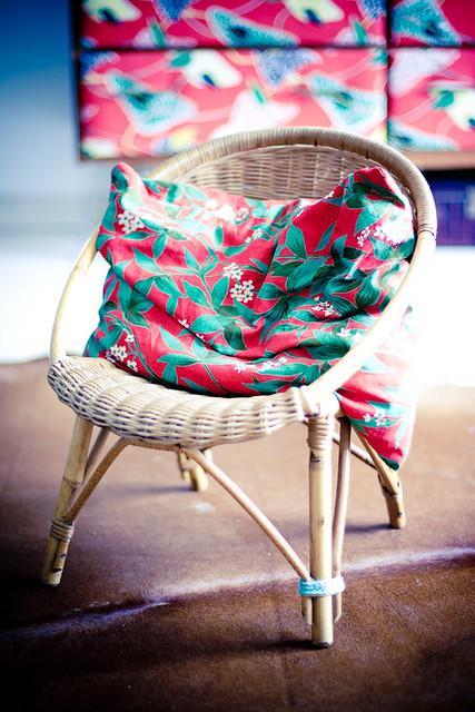 fauteuil enfant vintage rotin