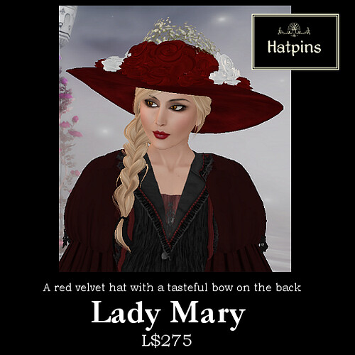 Hatpins - Lady Mary - Red Velvet Hat