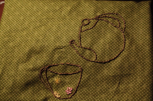 My project: embroidering a design on a piece that will become a tea cozy