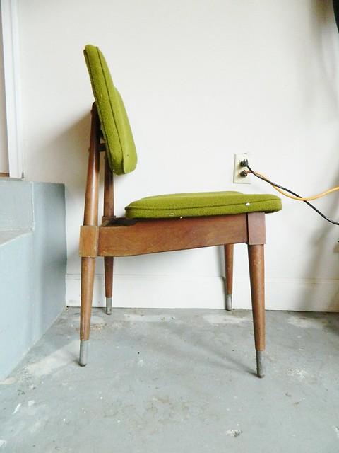 danish modern chair before restoring