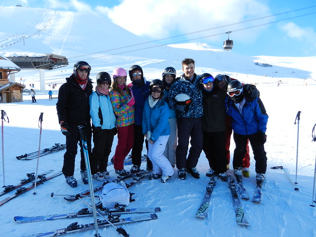 group shot on the slopes