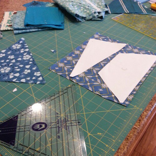 Back to cutting out my patchwork prism quilt. #quilting