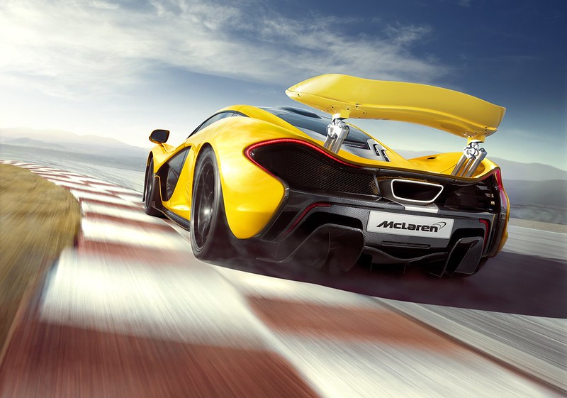 McLaren P1 Yellow Geneva wing up