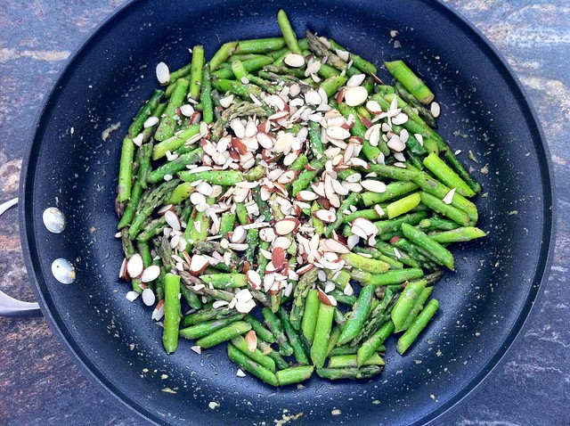 Sliced Almonds Added to Asparagus