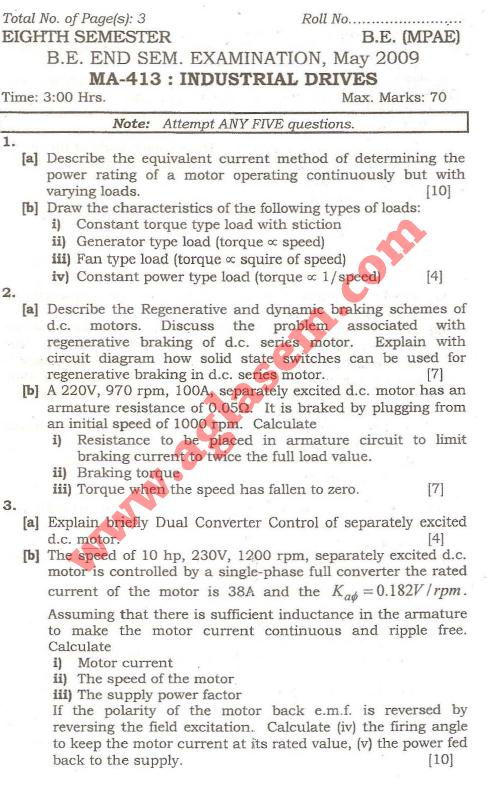 NSIT: Question Papers 2009 – 8 Semester - End Sem - MA-413