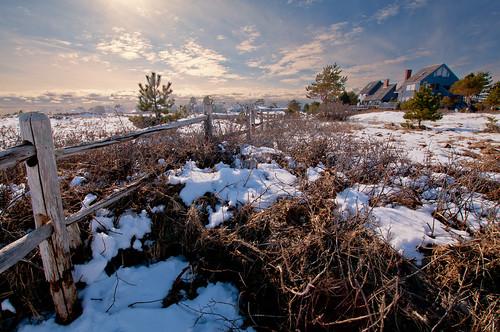 winter sky sun snow fence landscape day maine scenic newengland wells coastal wellsbeach