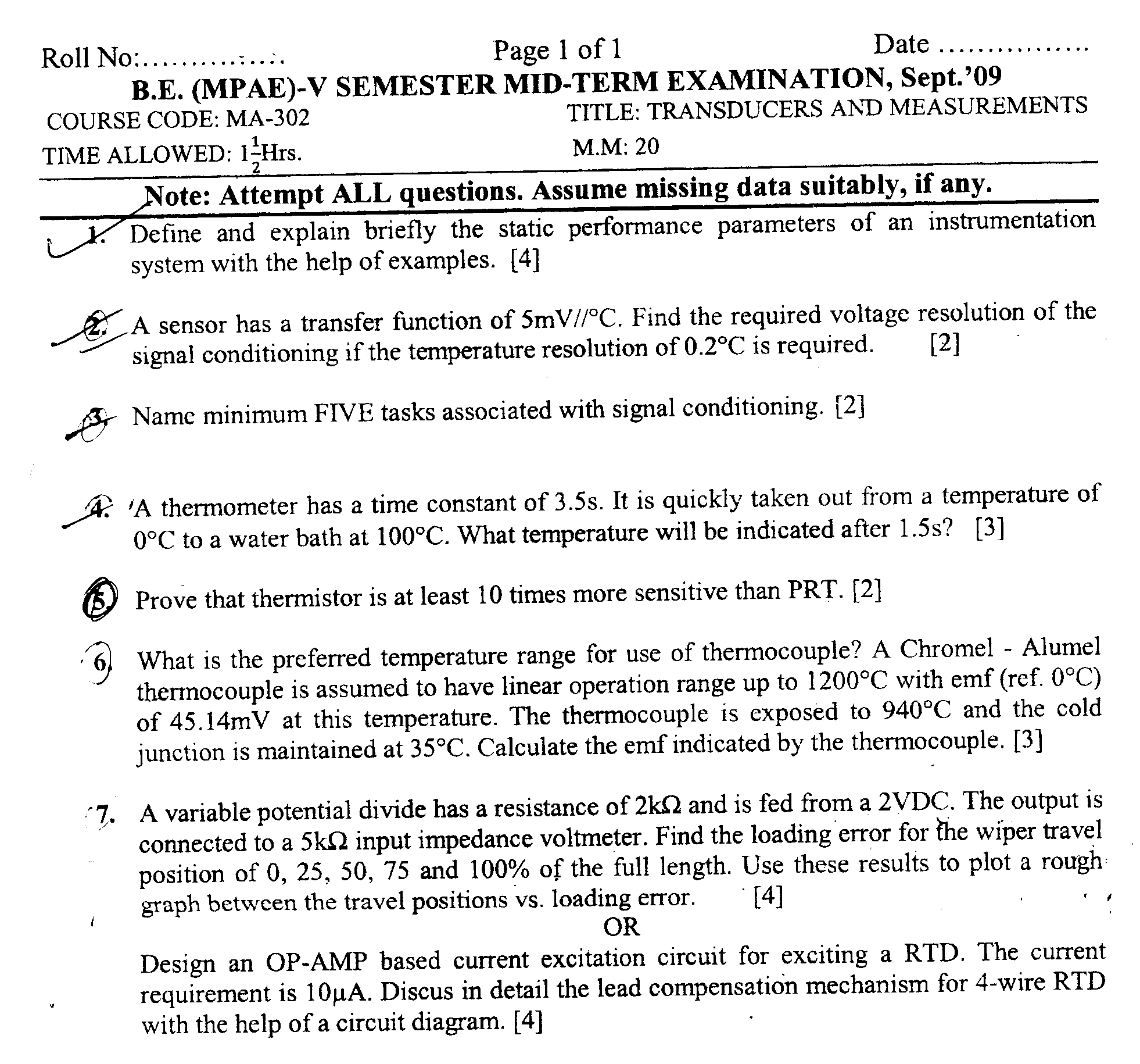 NSIT: Question Papers 2009 – 5 Semester - Mid Sem - MA-302