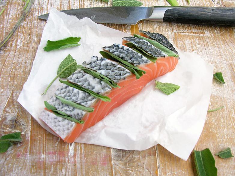 salmão e salva