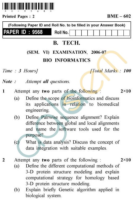 UPTU B.Tech Question Papers - BME-602 - Bio Informatics